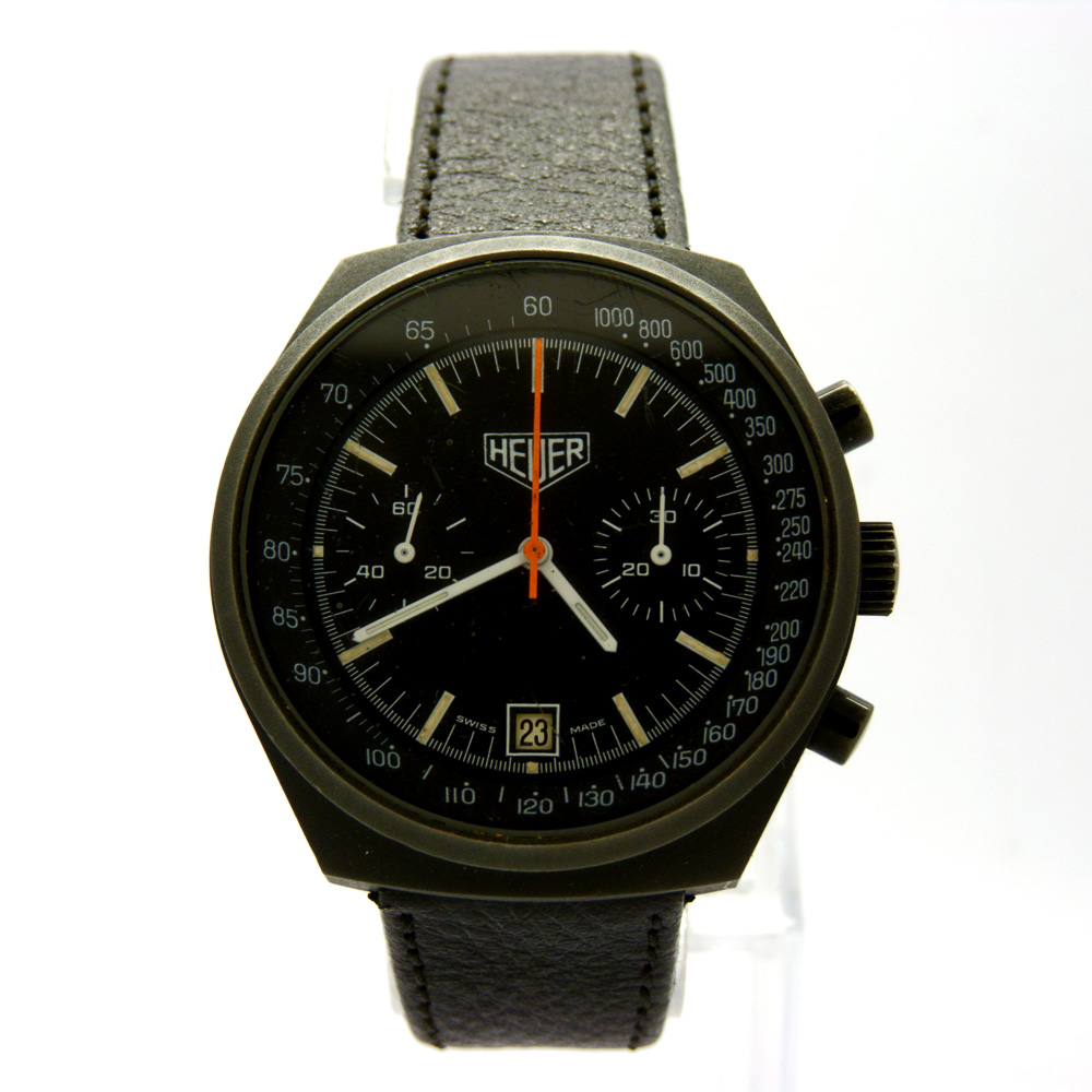 HEUER Black Case Orange Hand