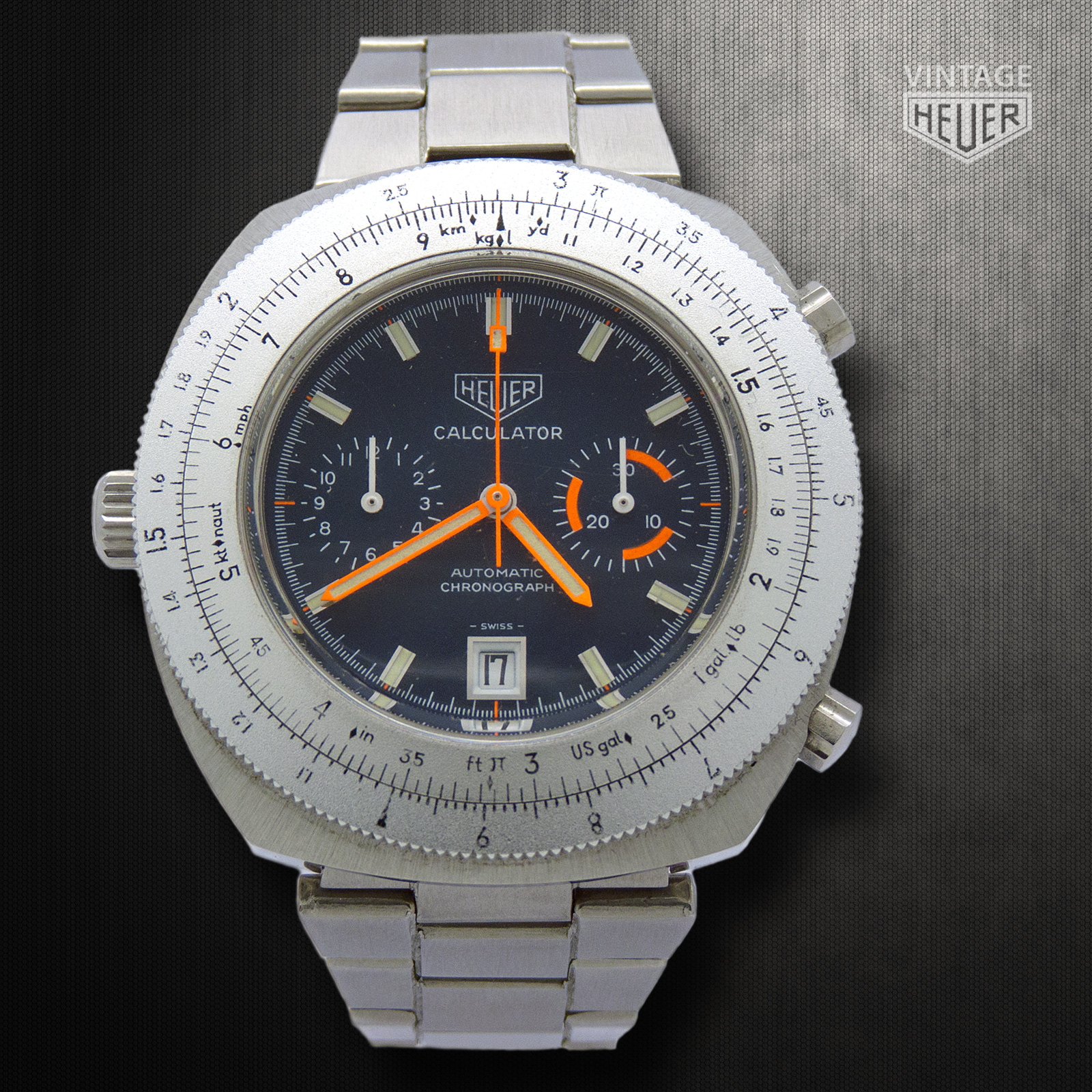 HEUER Calculator Automatic Chronograph Steel