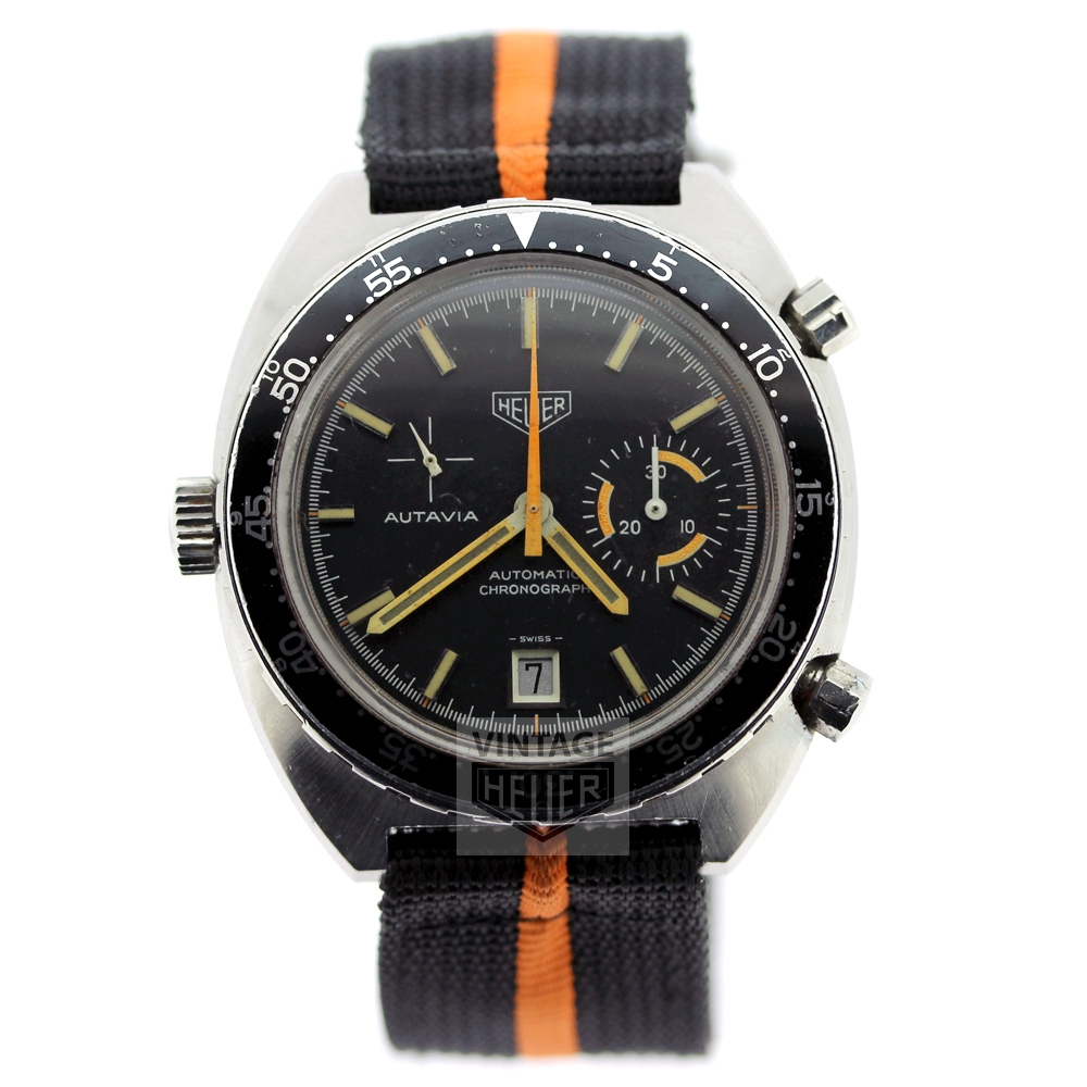 HEUER Autavia Black Orange Chronograph Watch