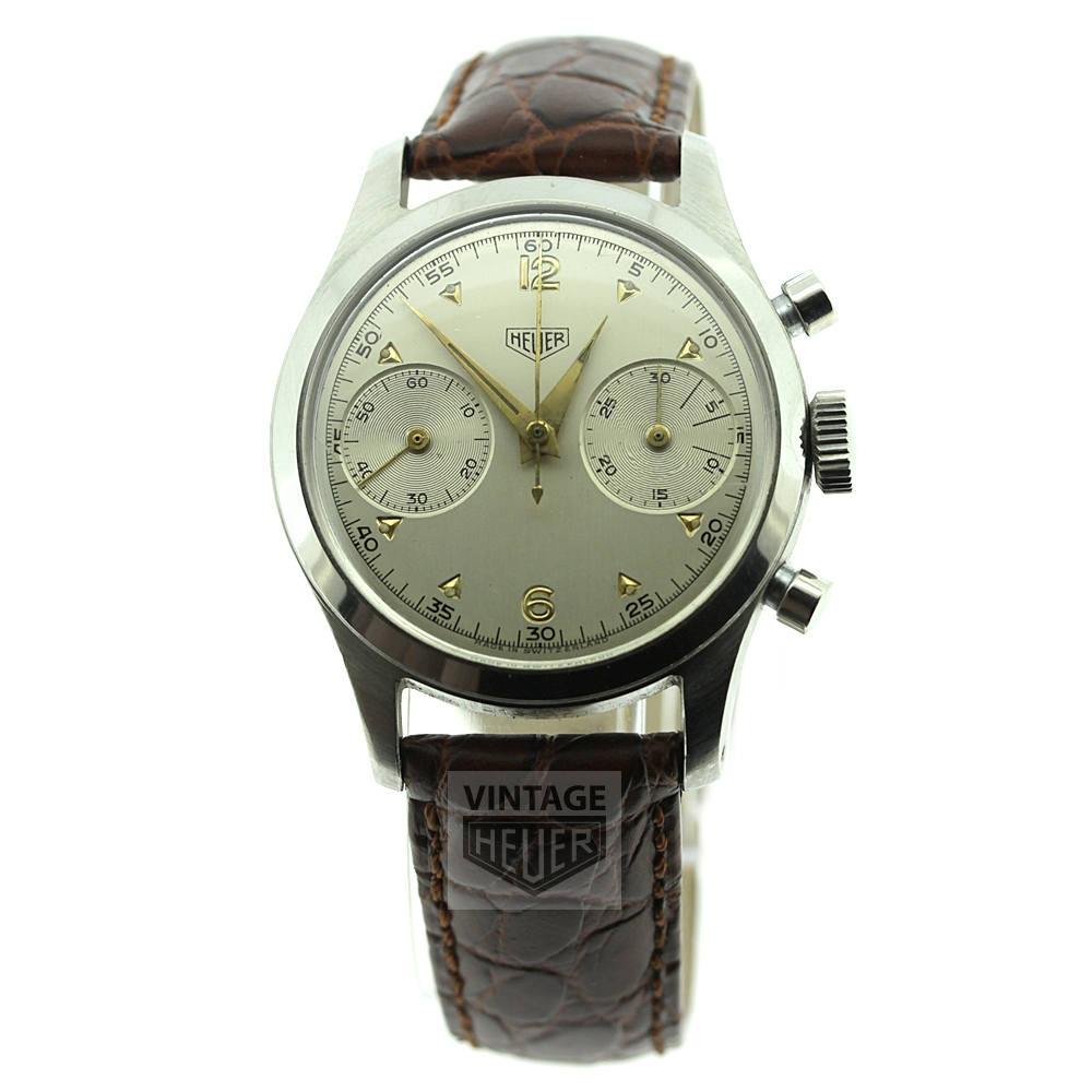 HEUER vintage chronograph silvered dial with gold highlights