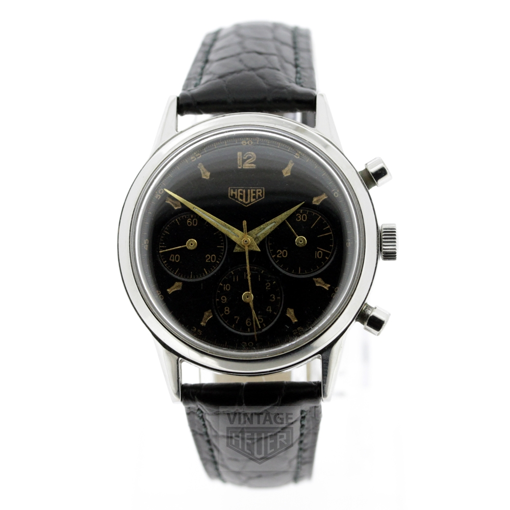 HEUER Black Dial Vintage Chrono Gold Hands